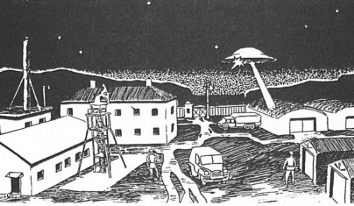 A UFO as seen by Ensign Voloshin over his army unit in the town of Kapustin Yar, Russia on 28th July 1989/Moscow Magazine Aura-Z
