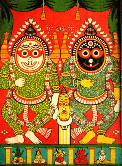 Lord Jagannatha Sri Shubodhra & Sri Balaram/Lithograph Artist Raja Ravi Verma circa 1900s