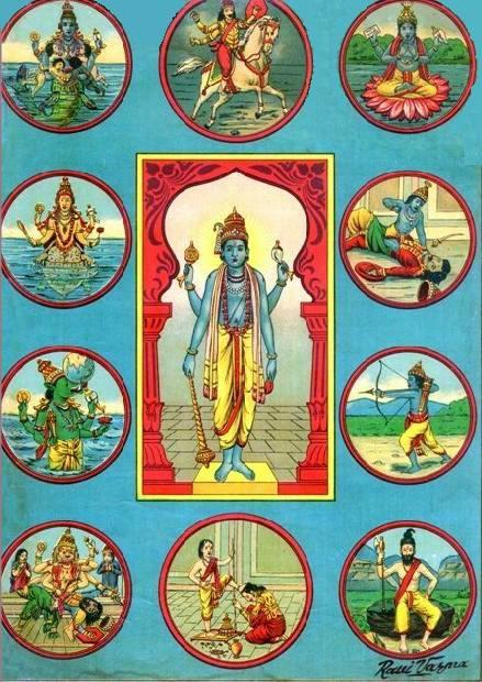 10 Avatars of Vishnu, Lithograph by Raja Ravi Varma