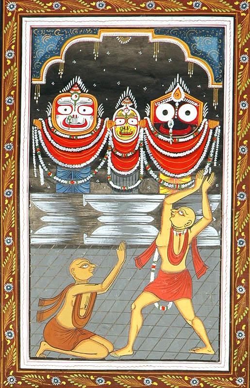 Lord Jagannatha Lord Balarama and Devi Shubhadra with Sri Caitanya Mahaprabhu Folk Art