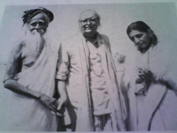 Sri Dilip Kumar Roy with Sri Sita Ram Das Omkarnath Ji  and Mata Indira Devi