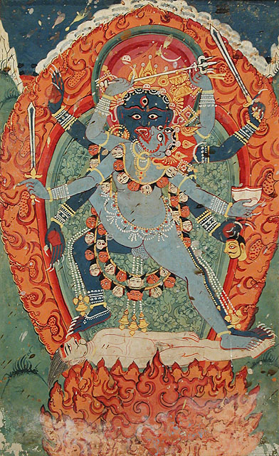 Kali & Bhairava Union 18th Century Nepal Painting