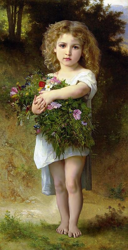 Child with Flowers by French Painter Bouguereau