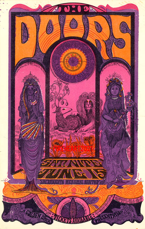 Doors Handbill for June 15th 1968 Concert at Sacramento Memorial Auditorium