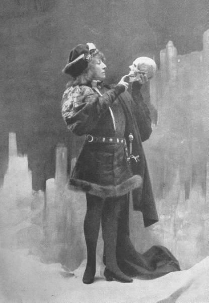 French Actress Sarah Bernhardt as Hamlet Examining Yorick's Skull