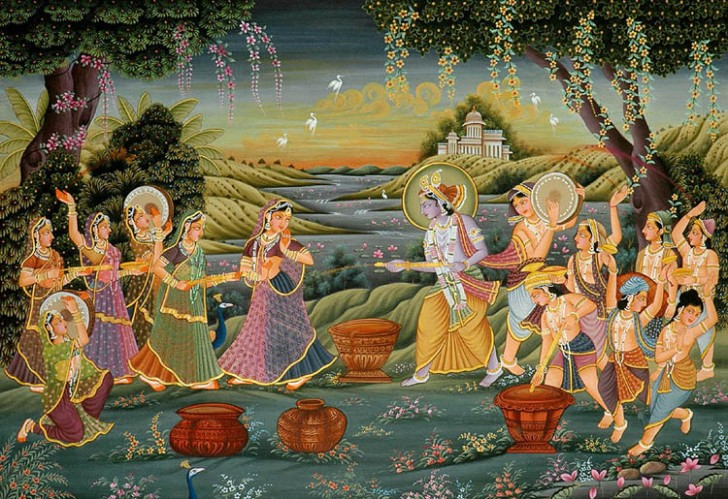 Radha Krishna Playing Holi with Companions
